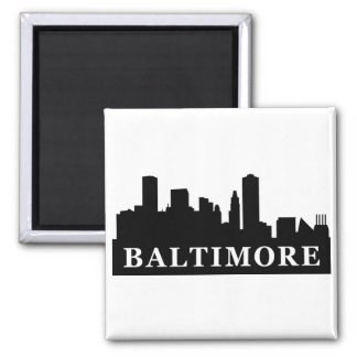 Baltimore Skyline Square Magnet