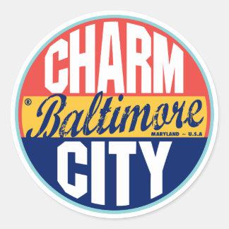 Baltimore Vintage Label Round Sticker