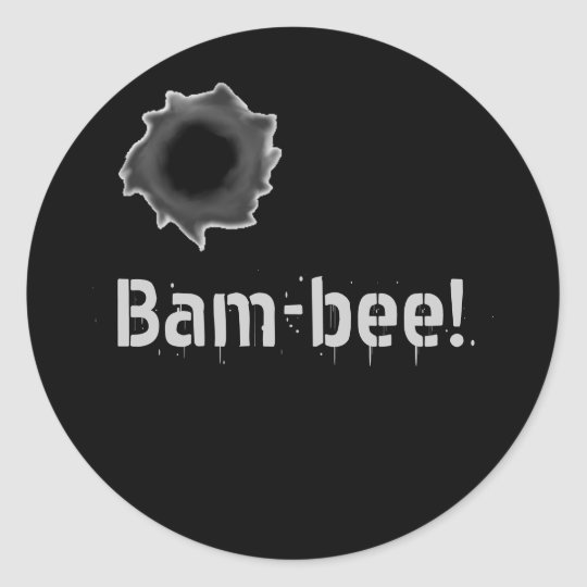Bam-bee! warfare sticker with bullet hole