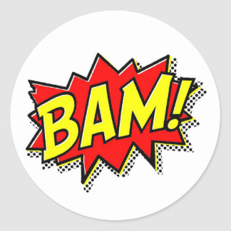 BAM COMICBOOK SOUNDS ACTIONS LOUD COMICS CARTOONS CLASSIC ROUND STICKER