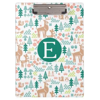 Bambi and Woodland Friends Pattern   Monogram Clipboard