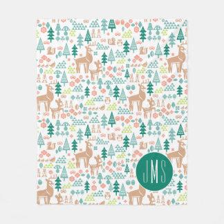 Bambi and Woodland Friends Pattern | Monogram Fleece Blanket