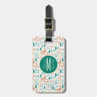 Bambi and Woodland Friends Pattern   Monogram Luggage Tag