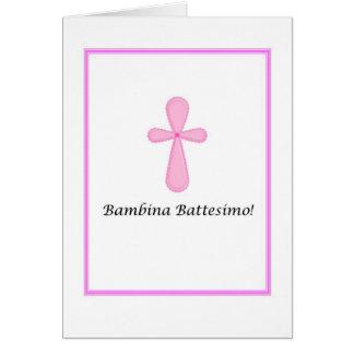 Bambina Battesimo - Baby Baptism in Italian Card