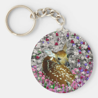 Bambina the Fawn in Flowers II Basic Round Button Key Ring