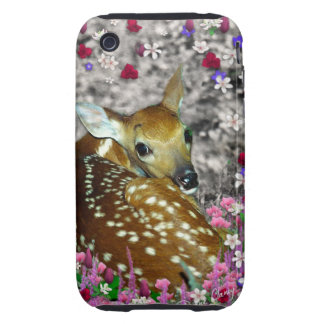 Bambina the Fawn in Flowers II iPhone 3 Tough Cases