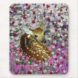 Bambina the Fawn in Flowers II Mousepads