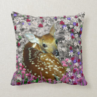 Bambina the Fawn in Flowers II Pillow Cushions