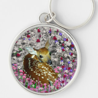 Bambina the Fawn in Flowers II Silver-Colored Round Key Ring
