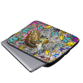 Bambina the White-Tailed Fawn in Butterflies Laptop Sleeves