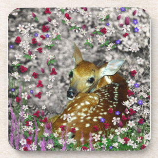 Bambina the White-Tailed Fawn in Flowers I Drink Coasters