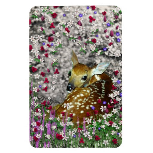 Bambina the White-Tailed Fawn in Flowers I Vinyl Magnets
