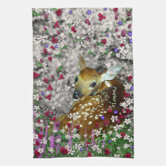 Bambina the White-Tailed Fawn in Flowers I Tea Towel