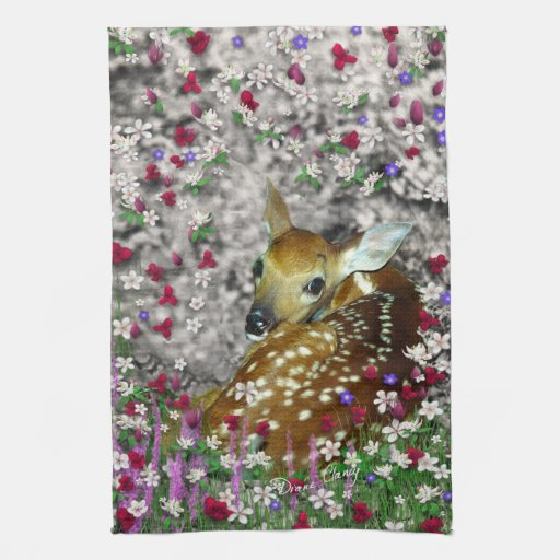 Bambina the White-Tailed Fawn in Flowers I Towels