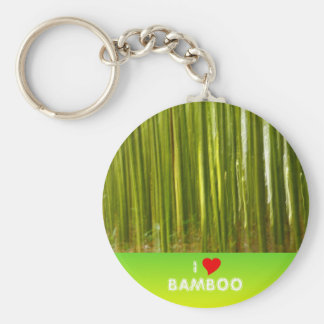 Bamboo abstract basic round button key ring
