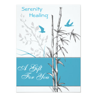 bamboo and blue birds gift certificate card 14 cm x 19 cm invitation card