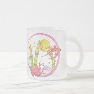 Bamboo and Purple Mountains Frosted Glass Mug