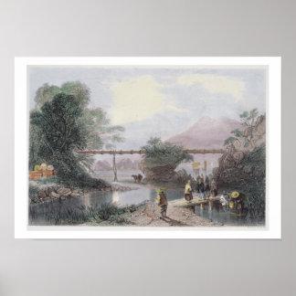Bamboo Aqueduct at Hong Kong, engraved by Henry Ad Poster