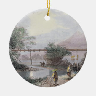 Bamboo Aqueduct at Hong Kong, engraved by Henry Ad Round Ceramic Decoration