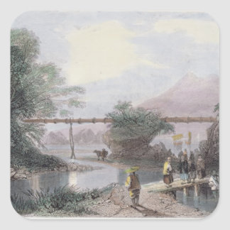 Bamboo Aqueduct at Hong Kong, engraved by Henry Ad Square Sticker
