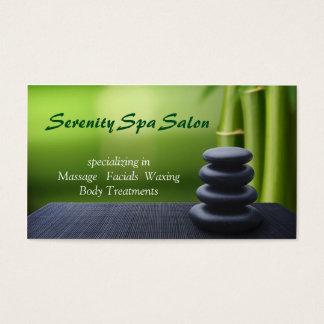 Bamboo Black Stone Massage Spa Salon Business Card