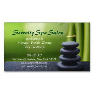 Bamboo Black Stone Massage Spa Salon Magnetic Business Card