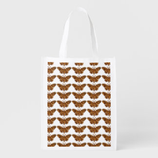 Bamboo Borer Moth Life Cycle Silhouette Reusable Grocery Bag
