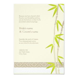 "Bamboo Design Wedding Invitations 5"" X 7"" Invitation Card"