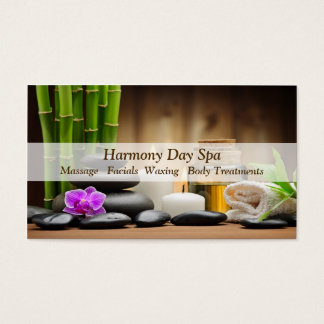 Bamboo Flower Oil Zen Spa Massage Business Card