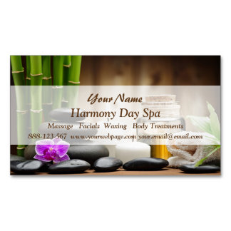 Bamboo Flower Oil Zen Spa Massage Magnetic Business Card