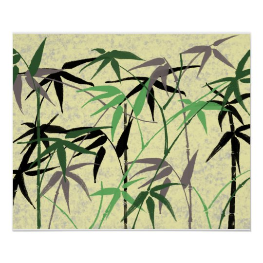 Bamboo Foliage, Leaves, Shoots - Green Yellow Poster