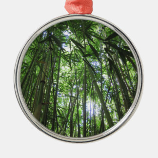 Bamboo Forest Maui Hawaii Tropical Jungle Trees Silver-Colored Round Decoration