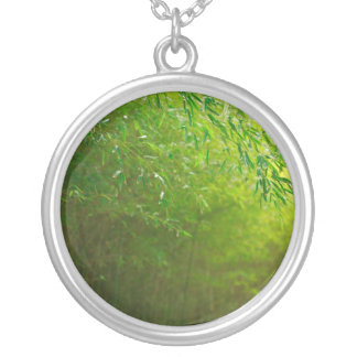 Bamboo forest round pendant necklace
