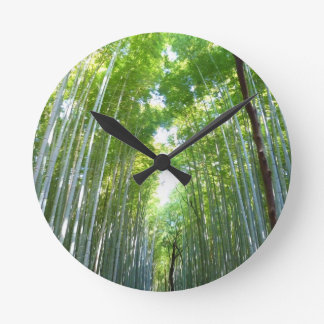 Bamboo Forest With Morning Sunlight Round Clock