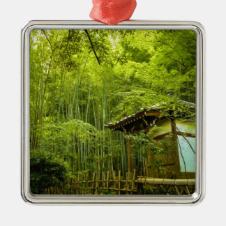 Bamboo Groves And Hut Silver-Colored Square Decoration