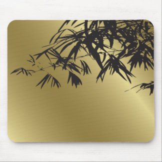 Bamboo Leaves Black + Gold Custom Gift Mousepad