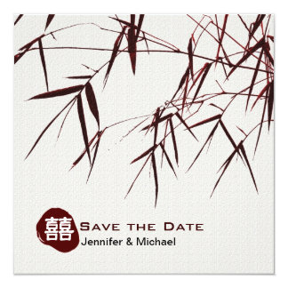Bamboo Leaves/Oriental Double Happiness Wedding Card