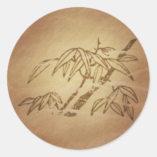 Bamboo Longevity Long Life Chinese Round Sticker