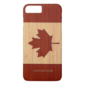 Bamboo Look Engraved Canada Flag Maple Leaf iPhone 8 Plus/7 Plus Case