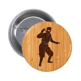 Bamboo Look & Engraved Cool Japanese Ninja 6 Cm Round Badge