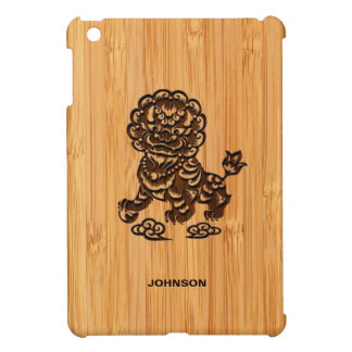 Bamboo Look & Engraved Cute Chinese Lion Statue iPad Mini Cover