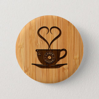 Bamboo Look & Engraved Cute I Love Coffee 6 Cm Round Badge