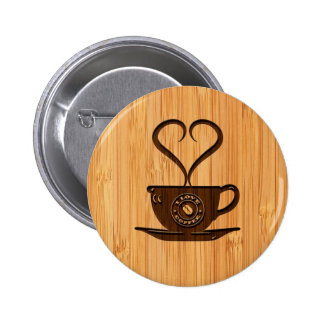Bamboo Look & Engraved Cute I Love Coffee Pins