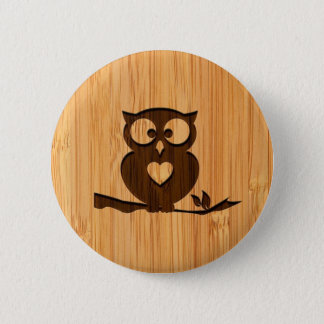 Bamboo Look & Engraved Cute Owl in Tree 6 Cm Round Badge