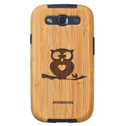 Bamboo Look & Engraved Cute Owl in Tree Samsung Galaxy SIII Case