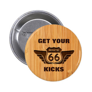 Bamboo Look & Engraved Get Your Kicks on Route 66 6 Cm Round Badge