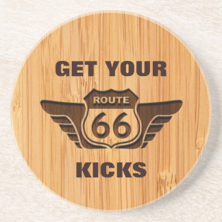 Bamboo Look & Engraved Get Your Kicks on Route 66 Drink Coasters