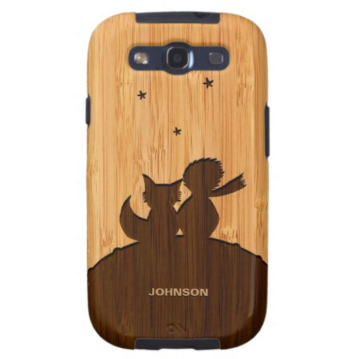 Bamboo Look & Engraved Little Prince with Fox Samsung Galaxy S3 Case