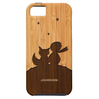Bamboo Look & Engraved Little Prince with Fox iPhone 5 Cover