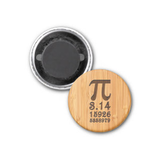 Bamboo Look & Engraved Pi Numbers Magnet